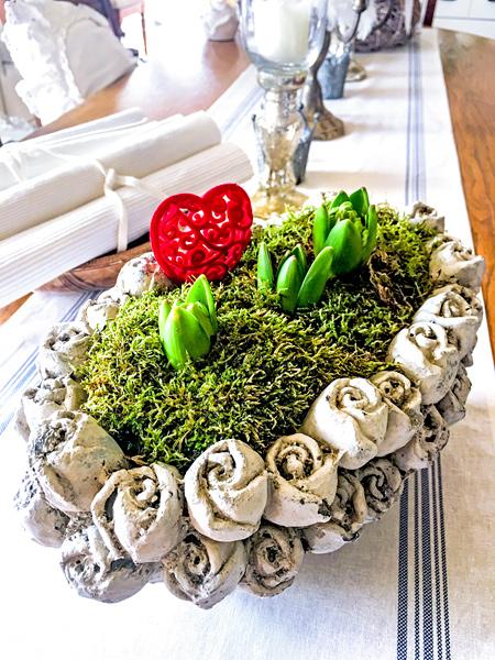 Landhaus Rosen Pflanzschale Valentinstag Hyazinthen Herz Shabby