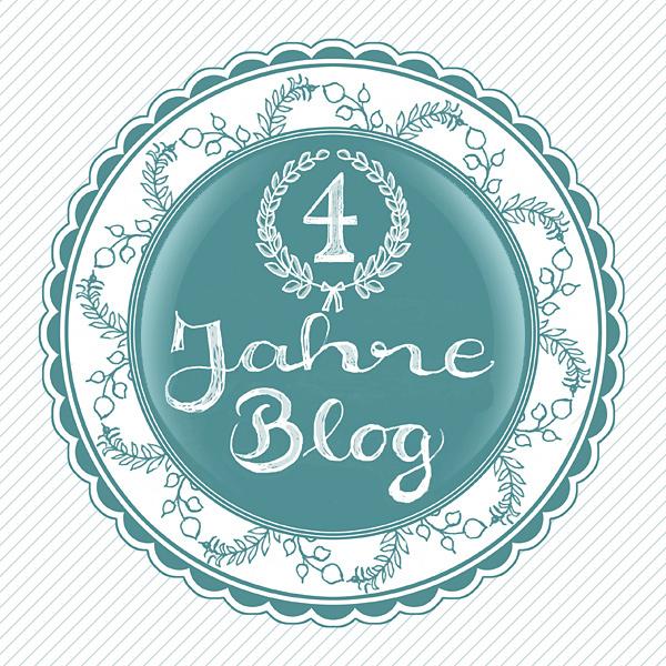 4 Jahre Blog Jubiläum Siegel Stempel Handschrift HandletteringSchraffur