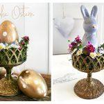 Festliche Landhaus Osterdekoration Frühlingsblumen Frohe Ostern