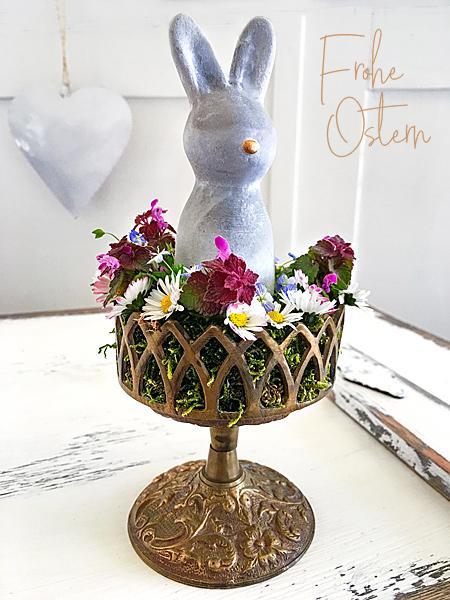 Frohe Ostern Osterhase Nostalgie Kerzenleuchter Osterbilder Shabby Landhaus Osterdeko