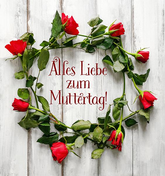 Muttertag Grusskarte Rote Rosen-Kranz Muttertagsgruss Shabby Holz