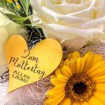 Muttertag Rosen Gerbera Herz Schrift Grußkarte