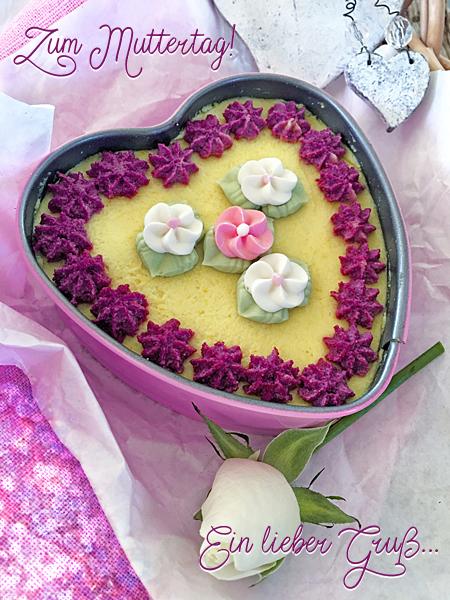 Muttertag Herz-Torte Muttertagskuchen Rohkost Rosen-Gruß