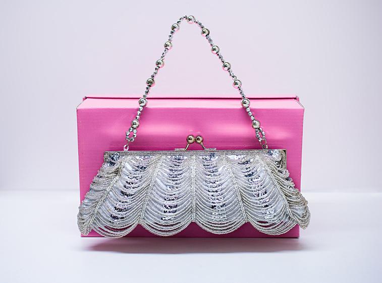 Abendtasche Handtasche Silber Pailletten Perlen Clutch Brauttasche