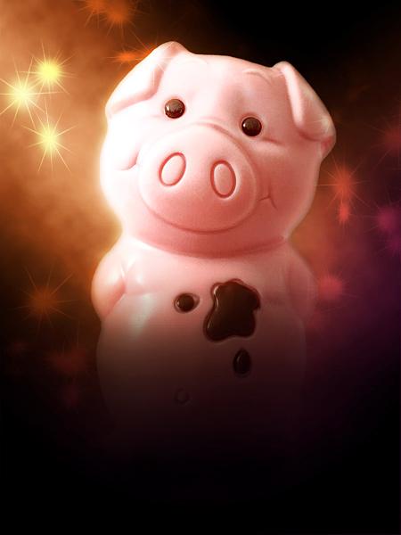Rosa Schokoladenschwein Silvester Neujahrsgrußkarte