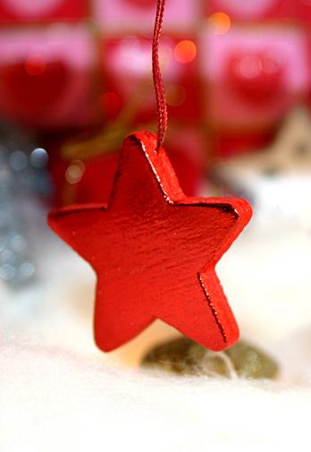 Weihnachten roter Weihnachtsstern Holz Weihnachtsanhänger