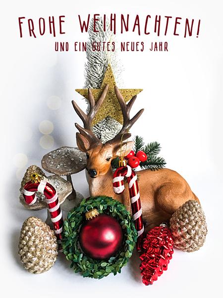 Frohe Weihnachten Hirsch Weihnachtskugeln Weihnachtsbaum