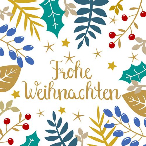 Frohe Weihnachten Sterne Weihnachtskarte florale Blätterranken weiss