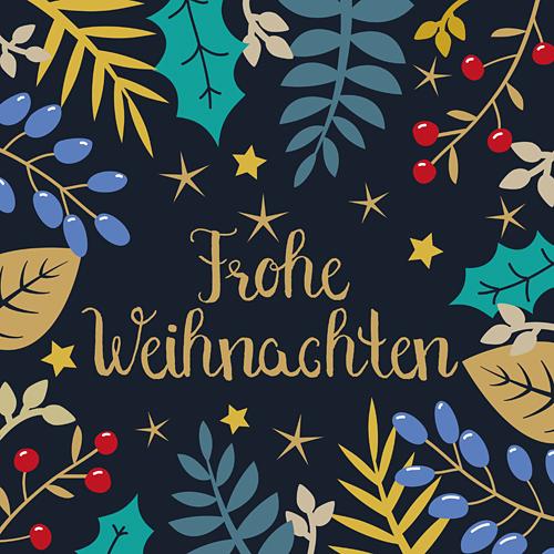 Frohe Weihnachten Sterne Weihnachtskarte florale Blätterranken
