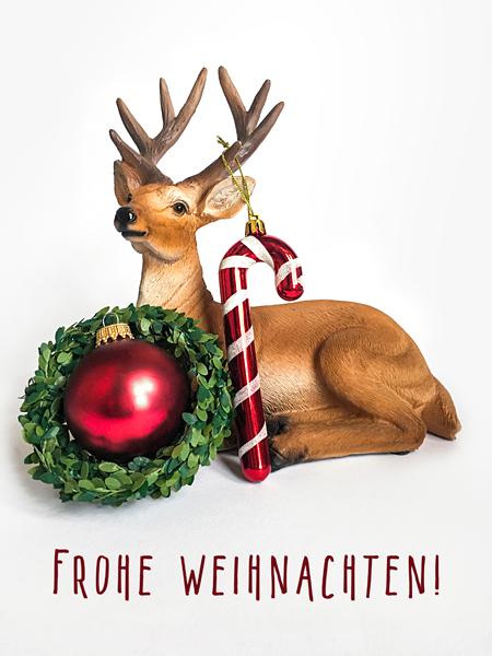 Frohe Weihnachten Weihnachtskugel Hirsch Zuckerstange Grußkarte