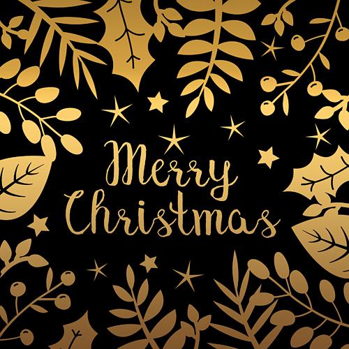 Merry Christmas Frohe Weihnachten Beeren Sterne Blätter gold schwarz