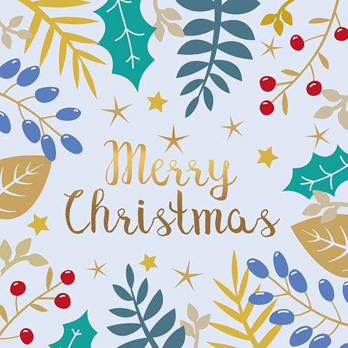 Merry Christmas Weihnachten Sterne Beeren Blätterranken hellblau