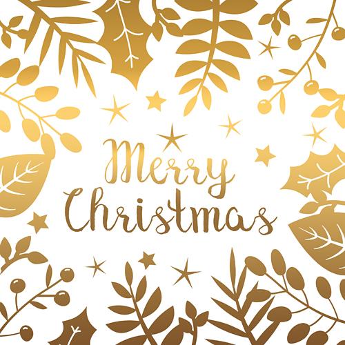 Merry Christmas Weihnachten Weihnachtsgruss floral Blaetter gold
