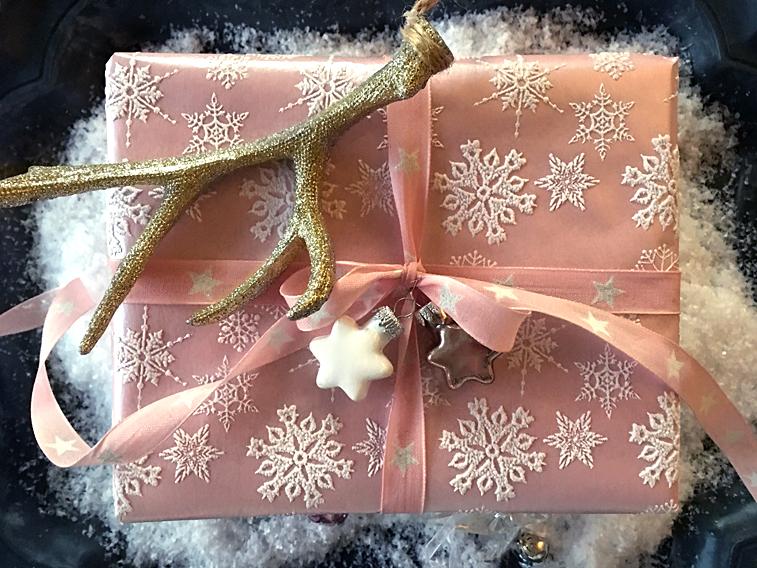 Rosa Weihnachtsgeschenk Sterne Hirsch-Geweih Weihnachten
