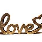 Love Liebe Valentinstag Schriftzug Gold Glitzer Aufsteller Herz