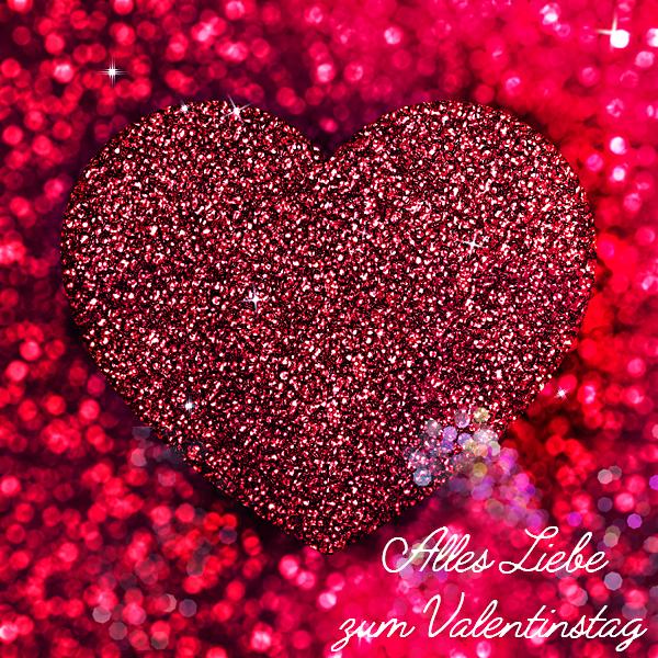 Rotes Glitzer-Herz Alles Liebe zum Valentinstag
