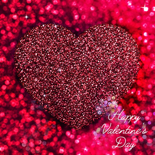 Valentinstag Herz Liebe rotes Glitzerherz Valentinsgrüsse Grusskarte