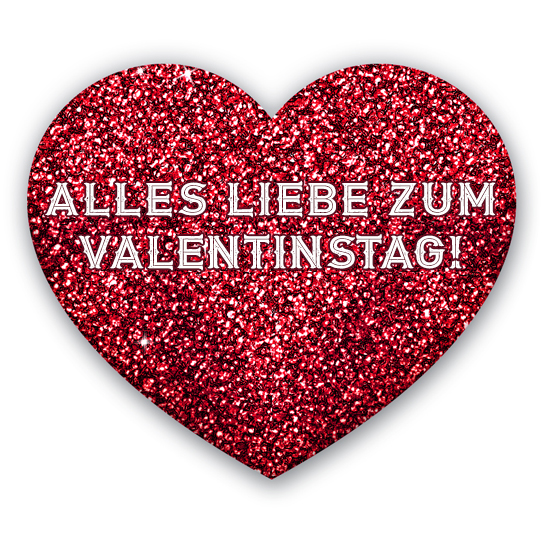 Valentinstag rotes Herz Schrift Valentinsgrüße alles Liebe