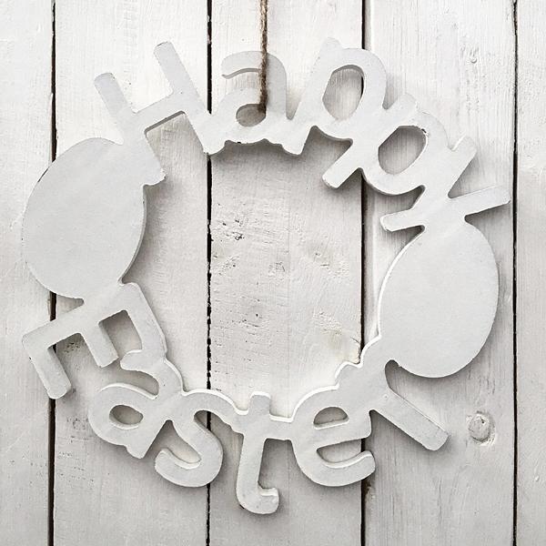 Frohe Ostern Happy Easter Osterkranz Landhaus Shabby Deko-Schrift Holz