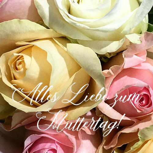 Muttertag Landhaus Rosenblüten Rosenstrauss Muttertagsgrüße