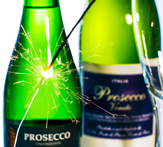 Sektglas Sektflasche Champagner Silvester Wunderkerzen Prosecco
