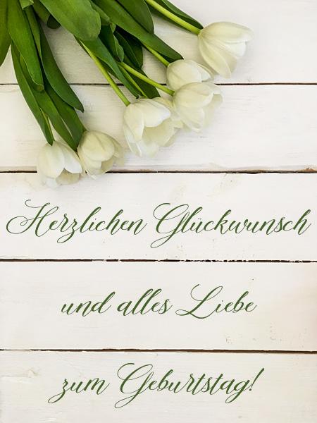 Geburtstagsgrüße Tulpen Geburtstagskarte Glückwunschkarte Shabby Holzhintergrund