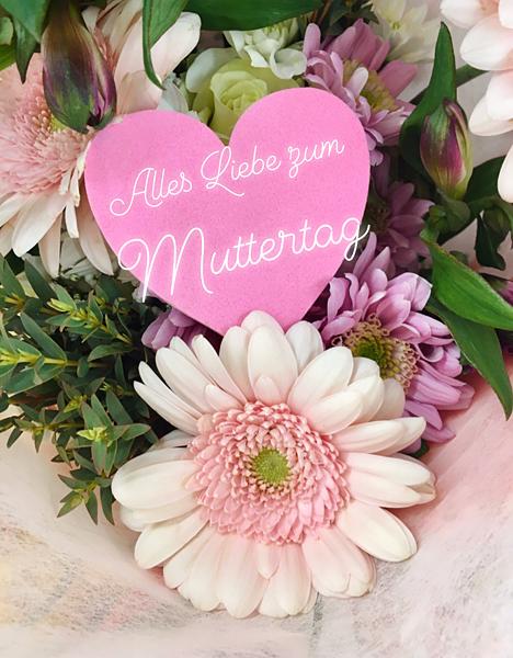 Rosa Gerbera Blumenstrauß zum Muttertag alles Liebe
