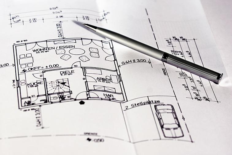 Bauplan Grundriss Hausbau Architekt Kugelschreiber