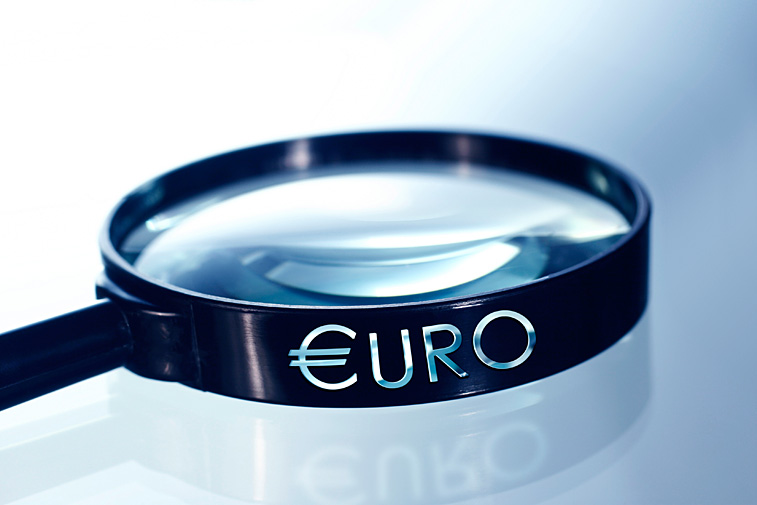 Lupe Euro-E Vergrößerungsglas Eurozeichen Eurosymbol