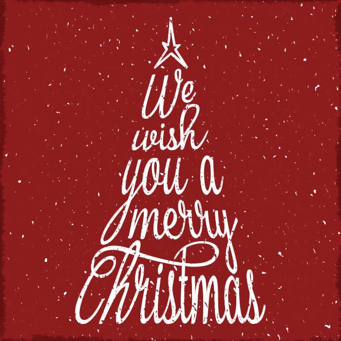Weihnachtsbaum Tannenbaum Merry Christmas Vintage Schrift