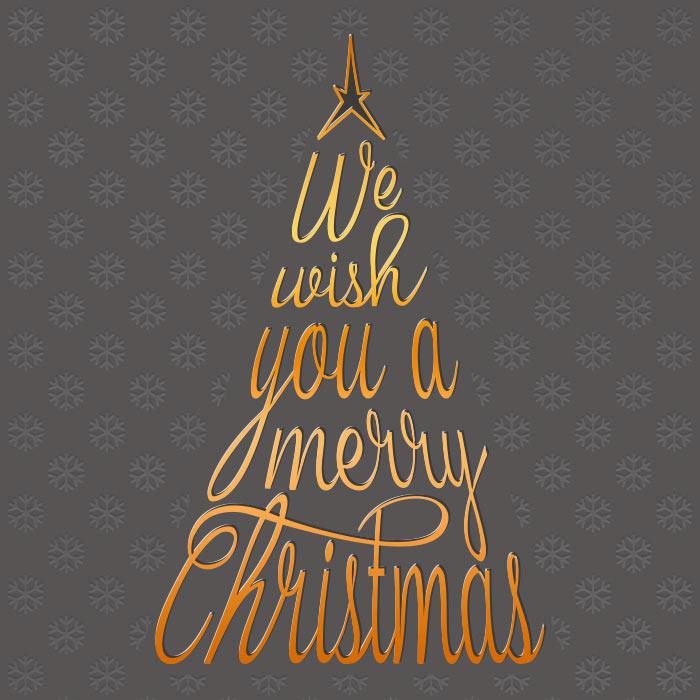 Tannenbaum Weihnachtsbaum Schrift merry christmas Schneeflocken gold