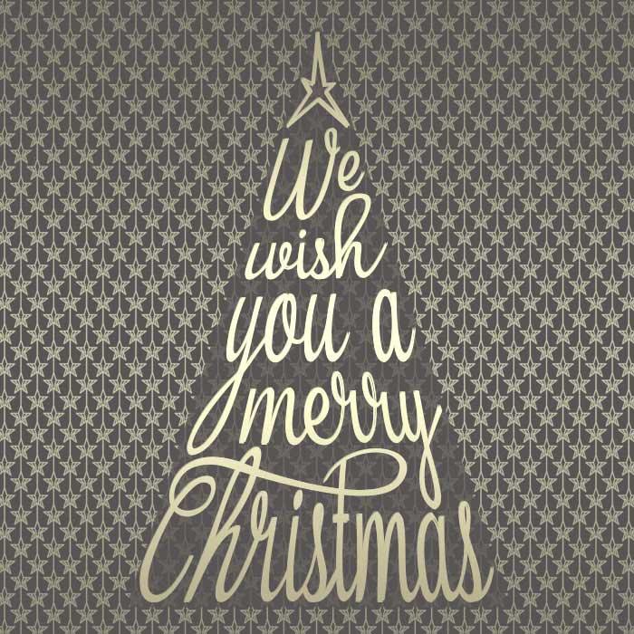 Weihnachten Tannenbaum Weihnachtsbaum merry christmas schrift silbergold