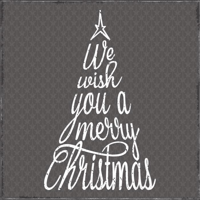 Weihnachten Typografie Tannenbaum Weihnachtsbaum Merry Christmas Schrift grau
